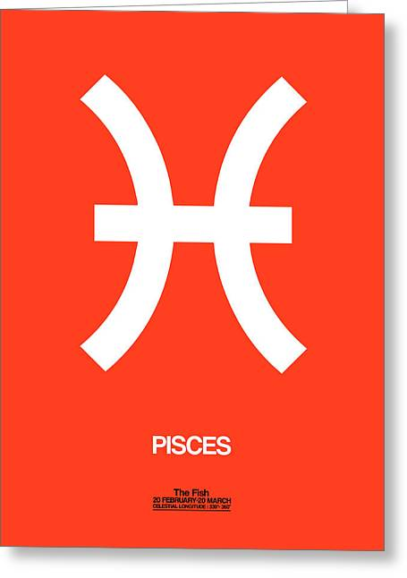 Pisces Zodiac Sign White Greeting Card by Naxart Studio