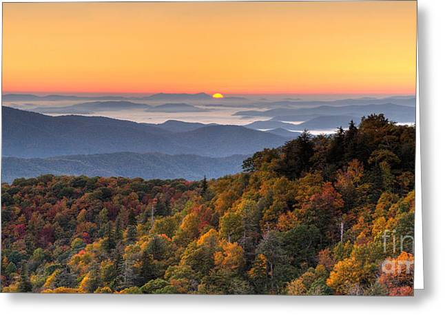 Pisgah Sunrise - Blue Ridge Parkway Greeting Card by Dan Carmichael