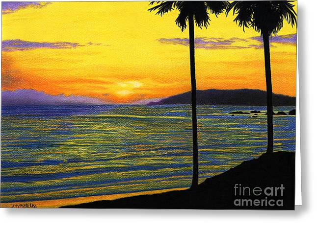 Beach Sunsets Drawings Greeting Cards - Pismo Beach California Sunset Greeting Card by Sarah Batalka
