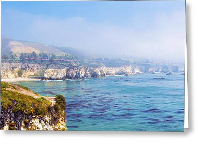 Beach Photos Digital Greeting Cards - Pismo Beach Through The Fog Panorama Greeting Card by Barbara Snyder