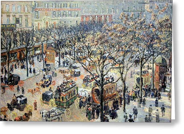 Camille Pissarro Photographs Greeting Cards - Pissarros Boulevard Des Italiens In Morning Sunlight Greeting Card by Cora Wandel