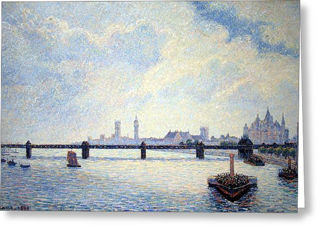 Camille Pissarro Photographs Greeting Cards - Pissarros Charing Cross Bridge In London Greeting Card by Cora Wandel
