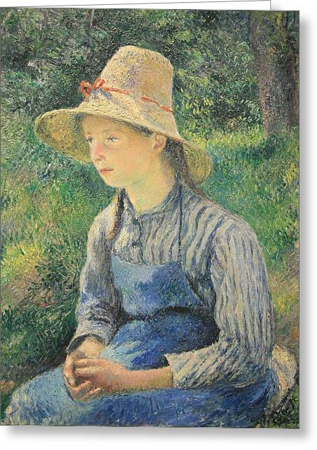 Camille Pissarro Photographs Greeting Cards - Pissarros Peasant Girl With A Straw Hat Greeting Card by Cora Wandel