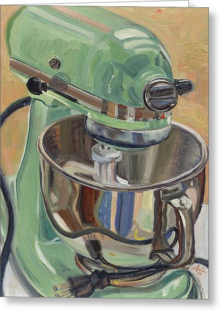 Pistachio Retro Designed Chrome Flour Mixer Greeting Card by Jennie Traill Schaeffer