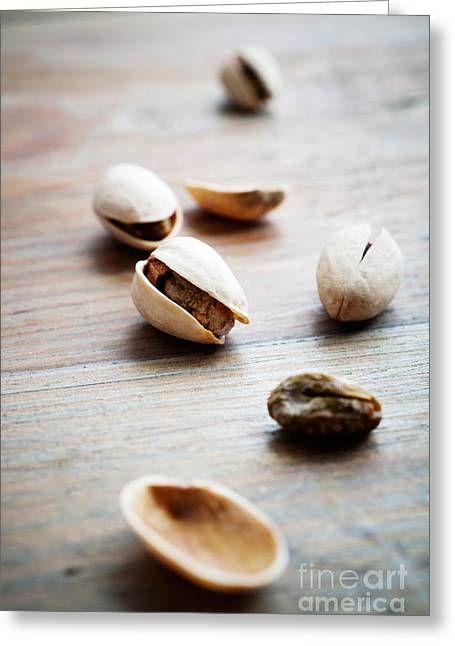 Wooden Bowl Greeting Cards - Pistachios Greeting Card by Kati Molin