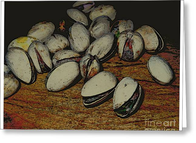 Nuts Mixed Media Greeting Cards - Pistachios Greeting Card by Theo Bethel