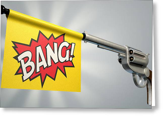 Trigger Greeting Cards - Pistol Bang Flag Greeting Card by Allan Swart