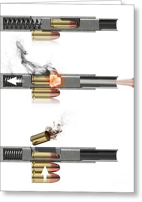 Mechanism Greeting Cards - Pistol Firing Mechanism, Artwork Greeting Card by Claus Lunau