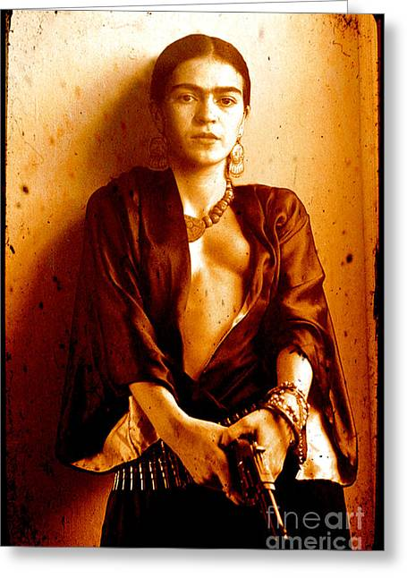 Icon Reproductions Greeting Cards - Pistol Packing Frida Greeting Card by Pg Reproductions