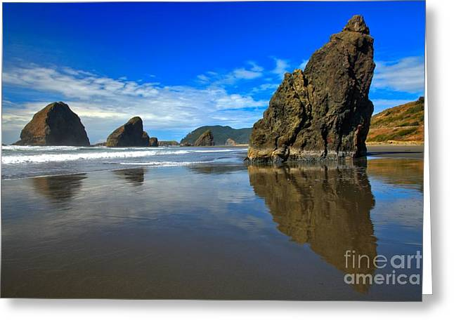 Reflections In River Greeting Cards - Pistol River Sea Stacks Greeting Card by Adam Jewell