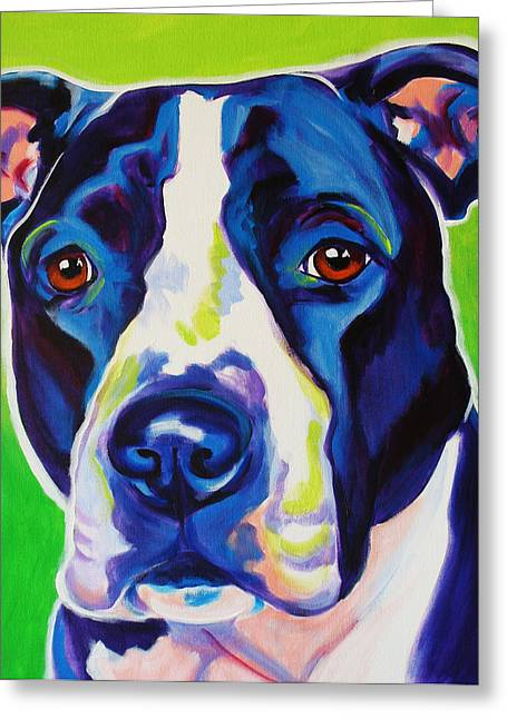 Alicia Vannoy Call Greeting Cards - Pit Bull - Sadie Greeting Card by Alicia VanNoy Call
