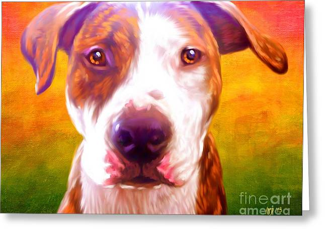 Pit Bull Poster Greeting Cards - Pit Bull Art Greeting Card by Iain McDonald