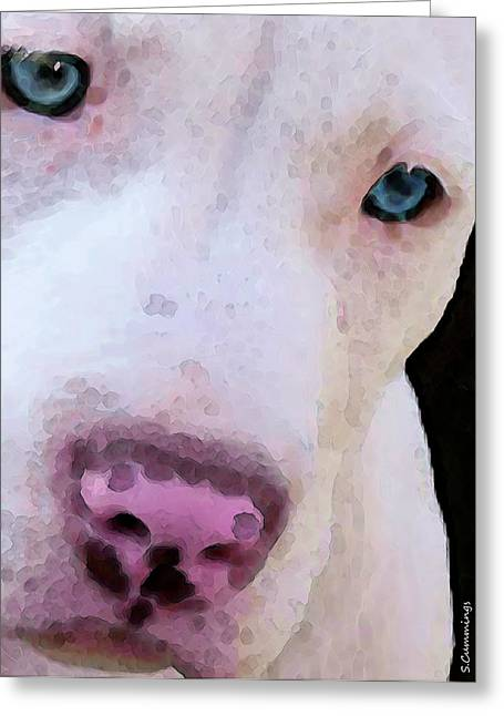 Framed Pit Bull Print Greeting Cards - Pit Bull Art - Not A Fighter Greeting Card by Sharon Cummings