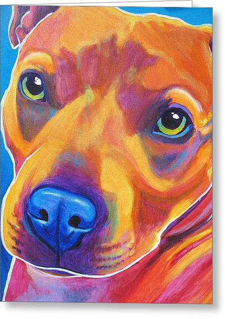Bully Paintings Greeting Cards - Pit Bull - Boo Greeting Card by Alicia VanNoy Call