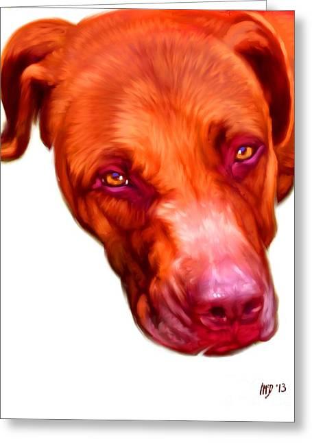 Pit Bull Poster Greeting Cards - Pit Bull Digital Art Greeting Card by Iain McDonald
