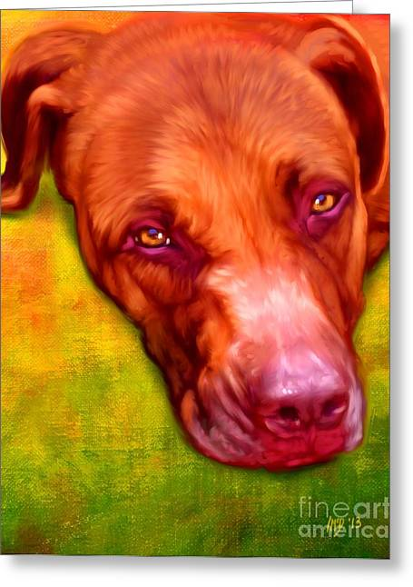 Pit Bull Poster Greeting Cards - Pit Bull Dog Art Greeting Card by Iain McDonald
