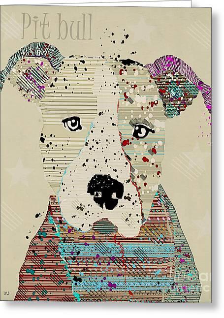 Pit Bull Digital Art Greeting Cards - Pit Bull Dog  Greeting Card by Bri Buckley