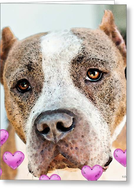 Buy Dog Art Greeting Cards - Pit Bull Dog - Pure Love Greeting Card by Sharon Cummings