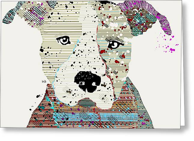 Dog Prints Mixed Media Greeting Cards - Pit Bull Graffiti Greeting Card by Bri Buckley