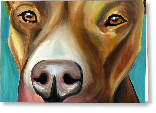 Pittie Greeting Cards - Pit Bull Greeting Card by Melissa Smith