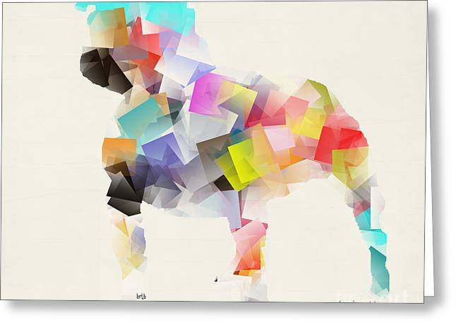 Dog Abstract Art Greeting Cards - Pit Bull Mode Greeting Card by Bri Buckley