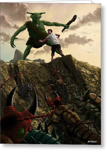 Pincers Greeting Cards - Pit of Giant Insect Monsters Greeting Card by Martin Davey