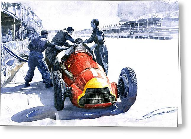 Stop Greeting Cards - Pit Stop Alfa Romeo158 British GP 1950 J M Fangio Greeting Card by Yuriy  Shevchuk