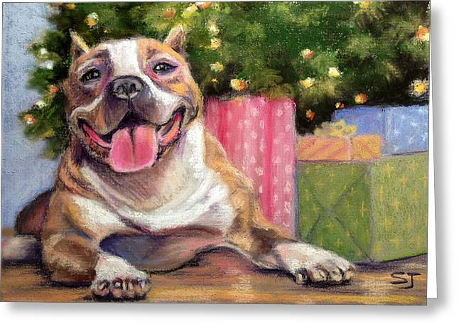 Christmas Pastels Greeting Cards - Pitbull Christmas Greeting Card by Susan Jenkins