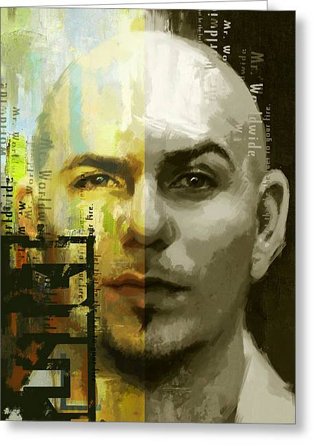 Cuban Artist Greeting Cards - Pitbull  Greeting Card by Corporate Art Task Force