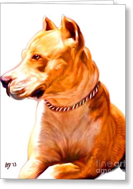 Pit Bull Poster Greeting Cards - PitBull Dog Art Greeting Card by Iain McDonald