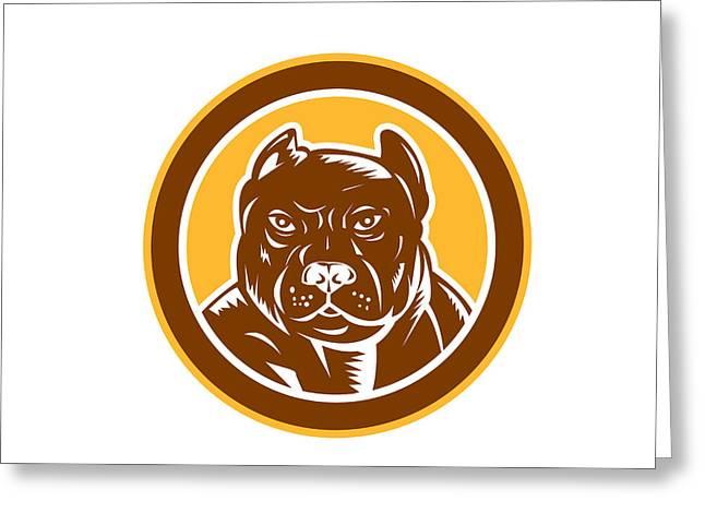 Guard Dog Greeting Cards - Pitbull Dog Mongrel Head Circle Woodcut Greeting Card by Aloysius Patrimonio