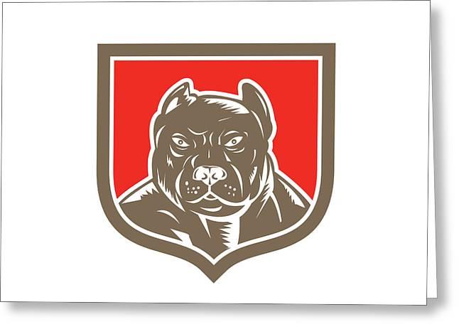 Guard Dog Greeting Cards - Pitbull Dog Mongrel Head Shield Woodcut Greeting Card by Aloysius Patrimonio