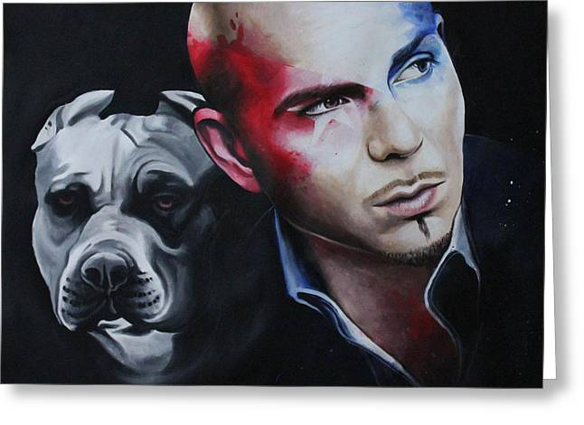 Pitbull Singer Greeting Cards - Pitbull portrait Greeting Card by Alessandra Pagliuca