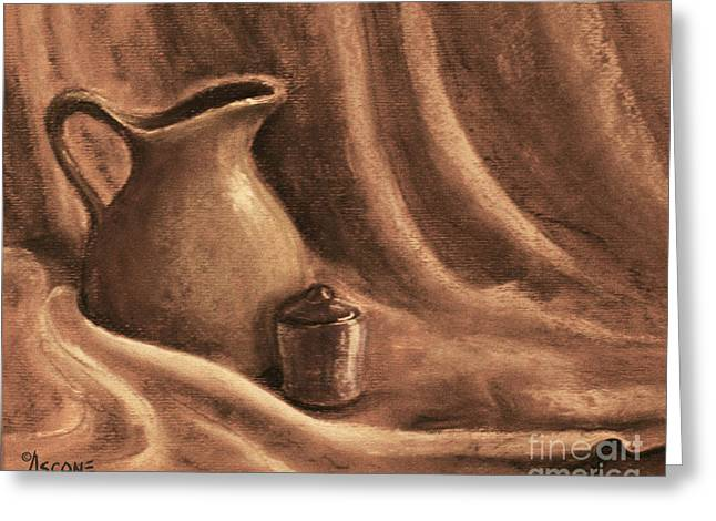 Table Cloth Drawings Greeting Cards - Pitcher and Lidded Jar Greeting Card by Teresa Ascone