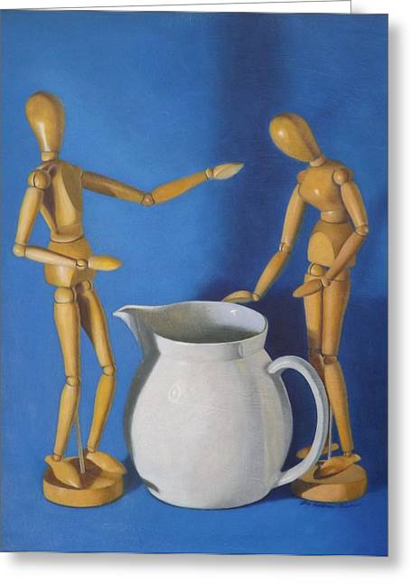 Ewer Paintings Greeting Cards - Pitcher And Manikins Greeting Card by Lee Bianco