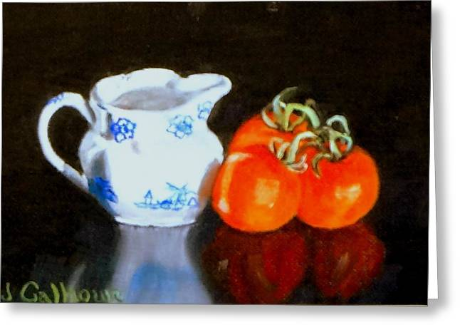 Pottery Pitcher Greeting Cards - Pitcher and Tomatoes Greeting Card by Jennifer Calhoun
