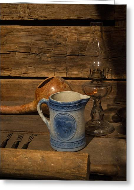 Old Pitcher Greeting Cards - Pitcher Cup and Lamp Greeting Card by Douglas Barnett