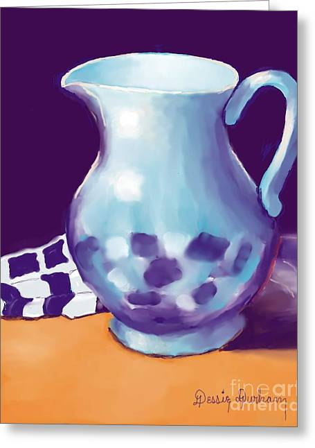 White Cloth Greeting Cards - Pitcher Greeting Card by Dessie Durham