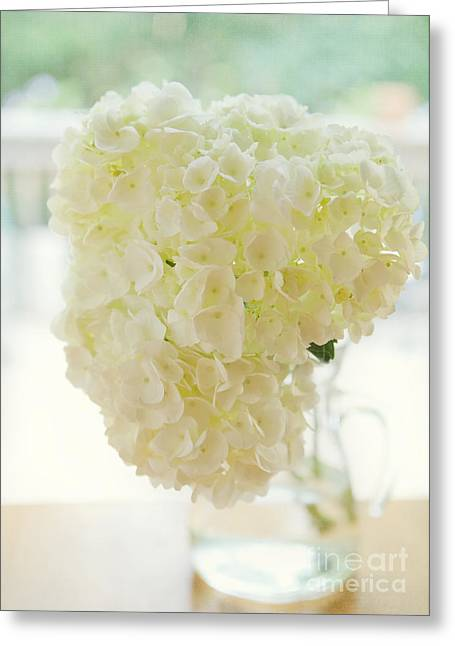 Vase Of Flowers Greeting Cards - Pitcher of Hydrangeas Greeting Card by Kay Pickens