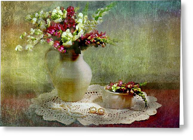 Pitcher of Snapdragons Greeting Card by Diana Angstadt