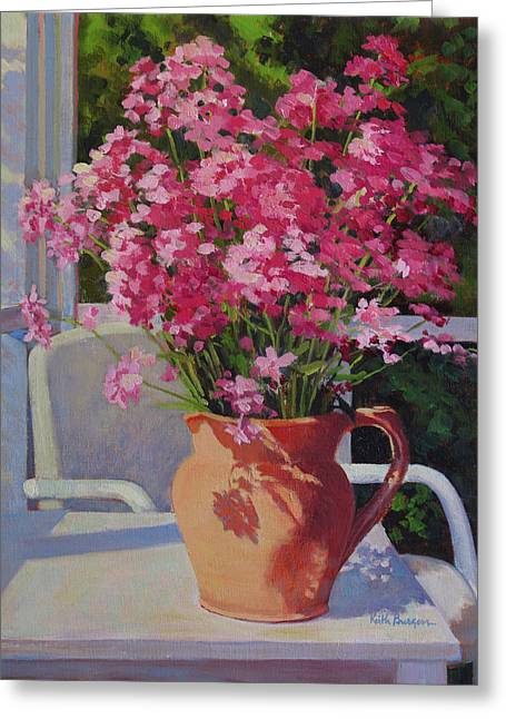 Pitcher With Phlox Greeting Card by Keith Burgess