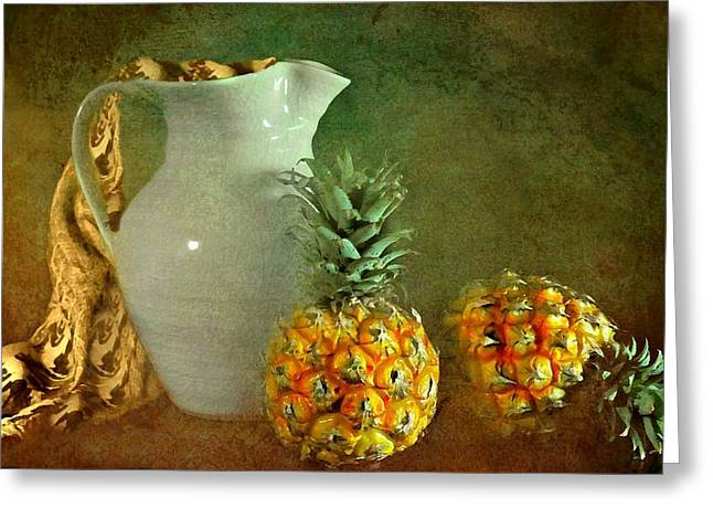 Still Life With Pitcher Greeting Cards - Pitcher with Pineapples Greeting Card by Diana Angstadt