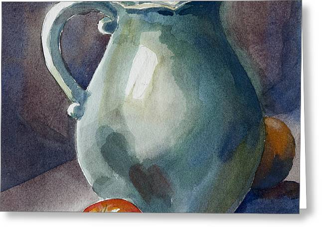 Pitcher with tomato Greeting Card by Pablo Rivera