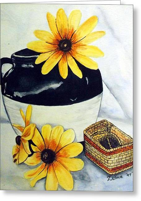 Old Pitcher Paintings Greeting Cards - Pitcher with yellow flowers Greeting Card by Zelma Hensel
