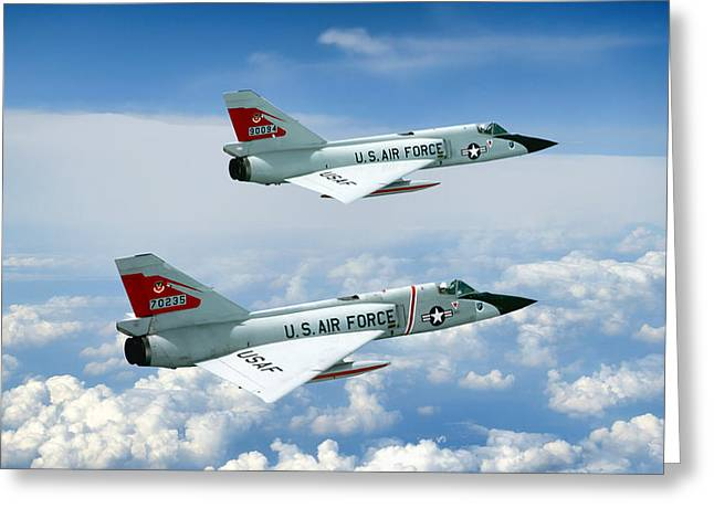 Supersonics Greeting Cards - Pitching Darts F-106 2-Ship Greeting Card by Peter Chilelli