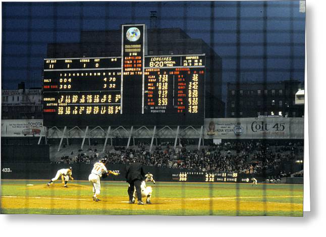 Sports Photography Greeting Cards - Pitching To A Hitter In Old Yankee Stadium Greeting Card by Retro Images Archive