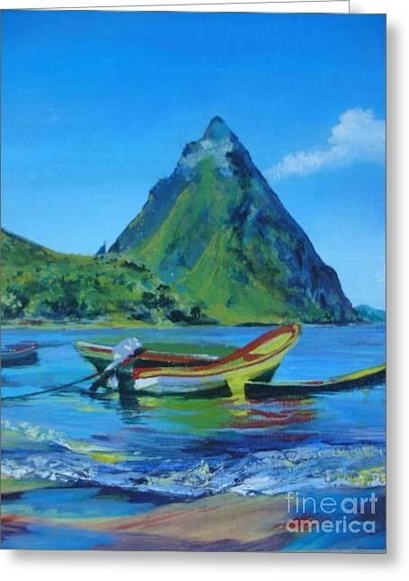 Lush Mixed Media Greeting Cards - Piton and the yellow boat Greeting Card by Kizzy Garconnette