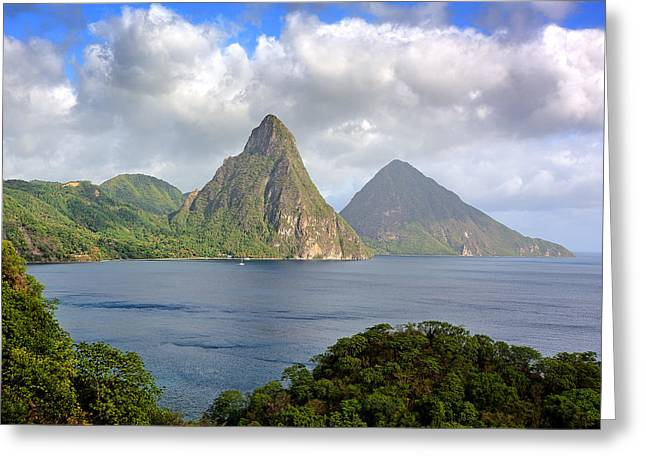 Tropical Island Greeting Cards - Piton Mountains - Saint Lucia Greeting Card by Brendan Reals
