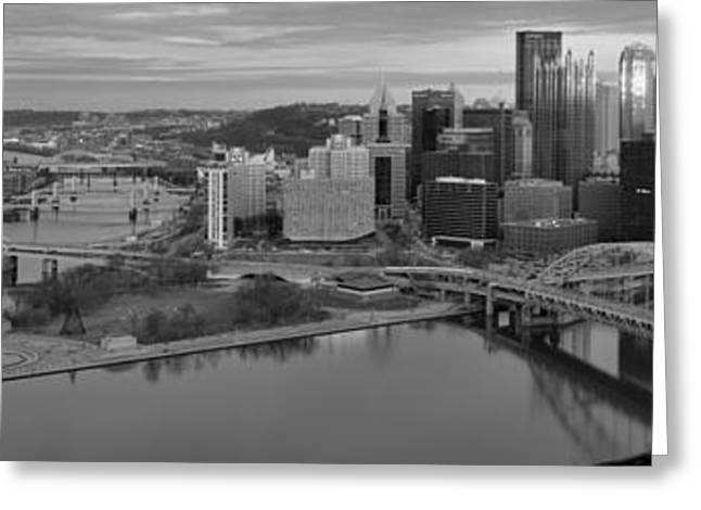 City Of Champions Greeting Cards - Pitsburgh Skyline Black And White Panorama Greeting Card by Adam Jewell