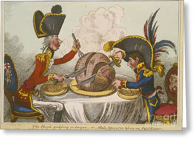Caricature Photographs Greeting Cards - Pitt And Napoleon Greeting Card by British Library
